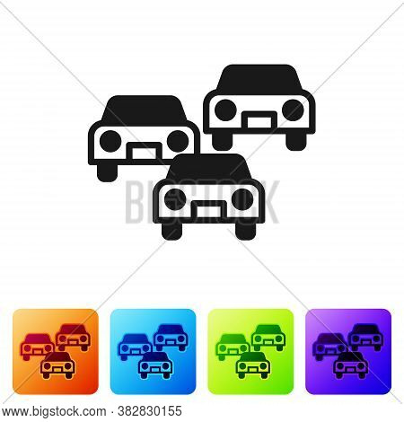Black Traffic Jam On The Road Icon Isolated On White Background. Road Transport. Set Icons In Color