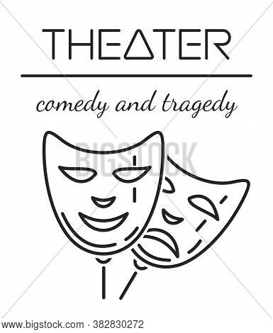 Comedy And Tragedy Mask. Theater Line Icon. Classic Theatre Mask Logo. Vector Illustration