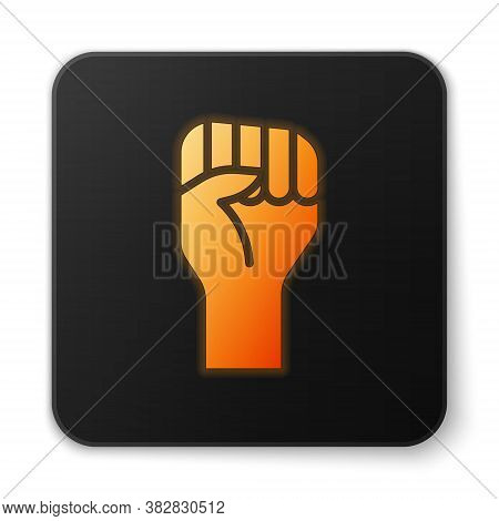Orange Glowing Neon Raised Hand With Clenched Fist Icon Isolated On White Background. Protester Rais