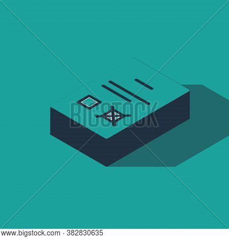 Isometric Poll Document Icon Isolated On Green Background. Vector