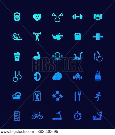 30 Fitness Icons, Gym, Workout And Training Set, Eps 10 File, Easy To Edit