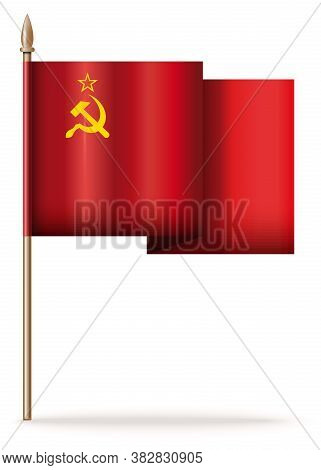 Ussr Flag On A Wooden Pole Evolving In The Wind. Flag Of The Union Of Soviet Socialist Republics Iso