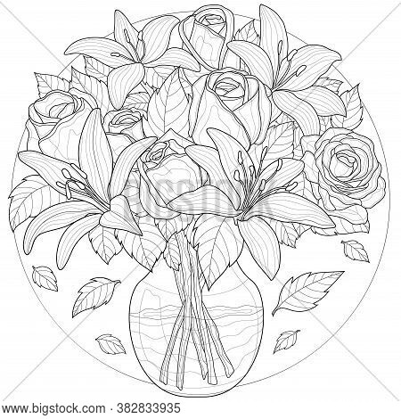 Flowers In A Vase. Lilies And Roses.coloring Book Antistress For Children And Adults. Zen-tangle Sty