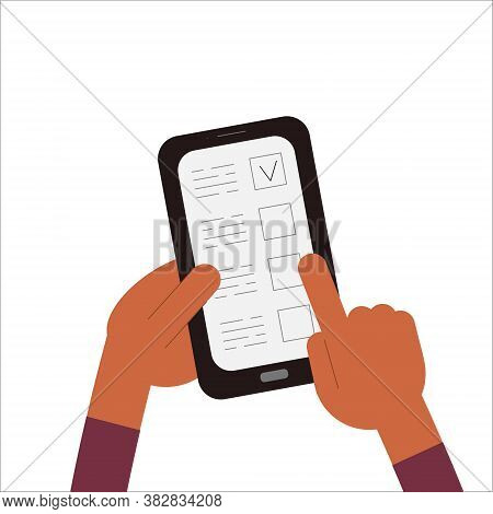 Online Voting. A Person Votes Remotely Using Their Smartphone. Remote Elections. Vector Illustration