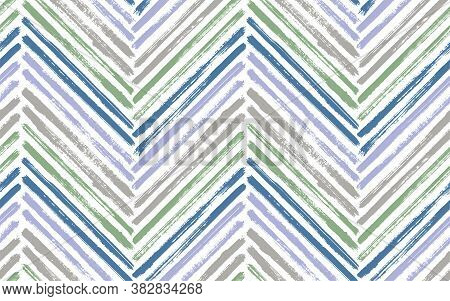 Vintage Zig Zag Fashion Print Vector Seamless Pattern. Paint Brush Stroke Geometric Stripes. Hand Dr
