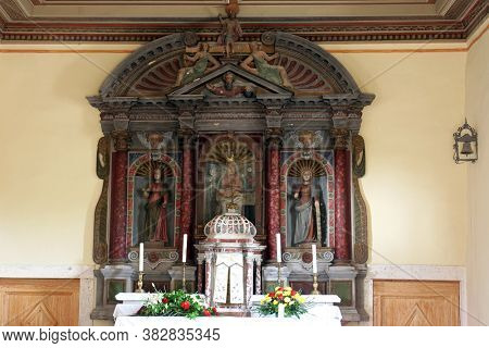 BACVA, CROATIA - MAY 31, 2013: The main altar in the parish church of Our Lady of Mount Carmel in Bacva, Croatia