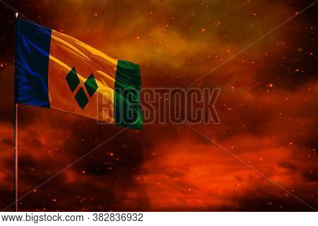 Fluttering Saint Vincent And The Grenadines Flag Mockup With Blank Space For Your Data On Crimson Re