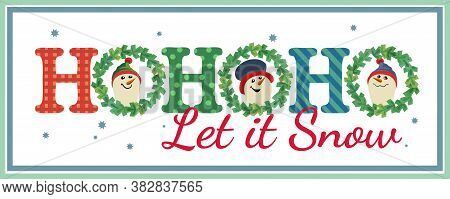 Hand Drawn Christmas Holiday Vector Decoration. Cute Winter Snow Ball Frosty Snowman Cartoon. Fun Te