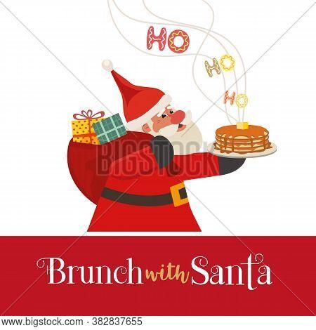Fun Seasonal Vector Icon. Cartoon Comic Santa Claus Cartoon. Fun Brunch Breakfast Christmas Kids Enj