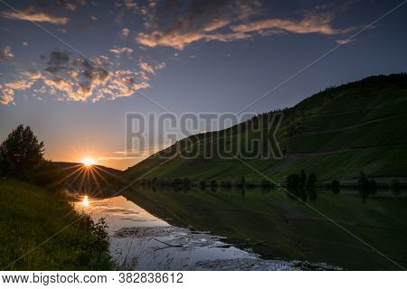 Panoramic Image, Sunset On Moselle River, Germany