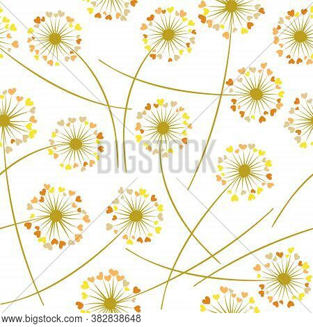 Dandelion Blowing Plant Vector Floral Seamless Pattern. Lovely Flowers With Heart Shaped Fluff Flyin