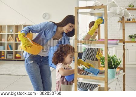 Family Cleaning House, Hygiene. Cleanliness And Tidiness, Housecleaning.