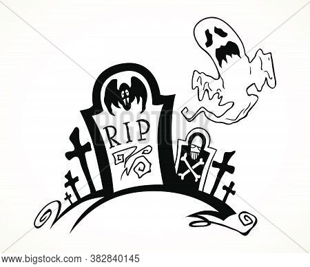 Graveyard Tombstone And Crosses With Flying Ghoat. Hand Drawn Halloween Celebration Design Element S