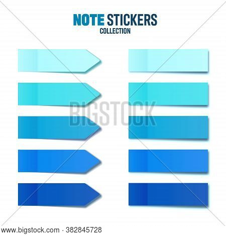 Realistic Blue Sticky Notes Collection. Arrow Flag Tabs. Post Note Stickers. Colorful Sticky Paper S