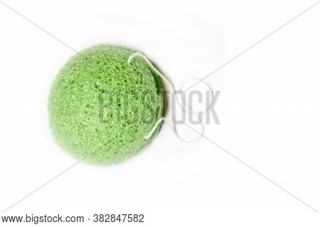 Natural Konjac Sponge On A White Background, Top View. Sponge Konjac For Face And Body Care