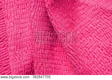 Pink Cotton Fabric, Gathered In Gum, Fabric Texture. Gum Thread