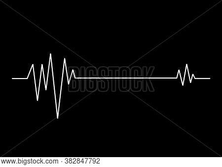 Heart Rhythm. Cardiogram. Black And White Heart Beat Icon.