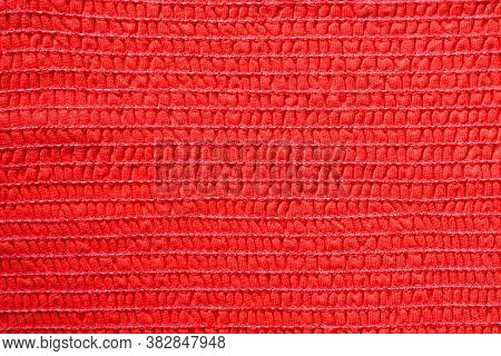 Red Cotton Fabric Background, Gathered In Gum, Fabric Texture. Gum Thread