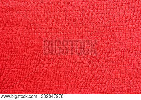 Red Cotton Fabric Background, Gathered In Gum, Fabric Texture