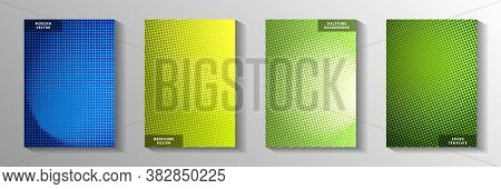 Minimalist Dot Screen Tone Gradation Front Page Templates Vector Collection. Digital Booklet Faded S