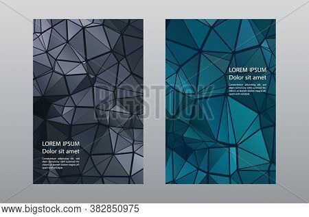 Triangles Mosaic Geometric Cover Page Templates Vector Set. Simple Brochure Front Pages. Triangles M