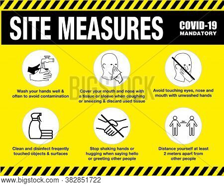 Site Measures Mandatory Or Site Safety Sign Or Health And Safety Protocols