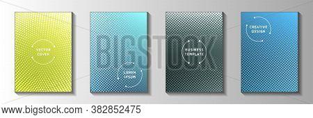 Elegant Dot Screen Tone Gradation Front Page Templates Vector Kit. Urban Magazine Faded Screen Tone