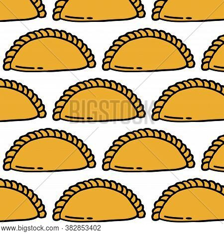 Empanada Seamless Doodle Pattern, Vector Color Illustration