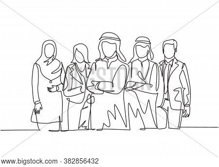 One Continuous Line Drawing Group Of Young Muslim And Multi Ethnic Manager Pose Standing Together. I