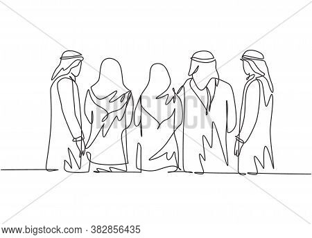 One Continuous Line Drawing Group Of Young Muslim Businessman And Businesspeople Standing Together F