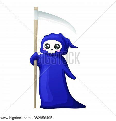 Cute Cartoon Grim Reaper With Scythe Isolated On White Background. Vector Illustration. Kawaii Hallo