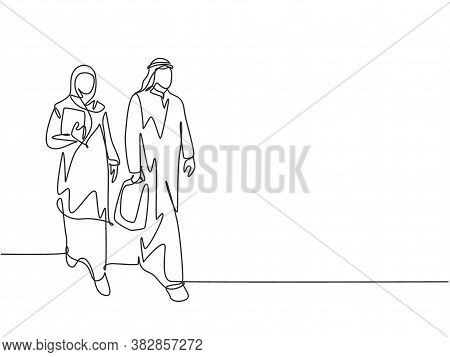 Single Continuous Line Drawing Of Young Happy Businessman Walking Together With His Assistant While