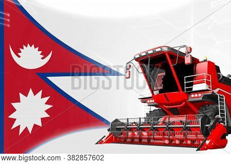 Digital Industrial 3d Illustration Of Red Advanced Grain Combine Harvester On Nepal Flag - Agricultu