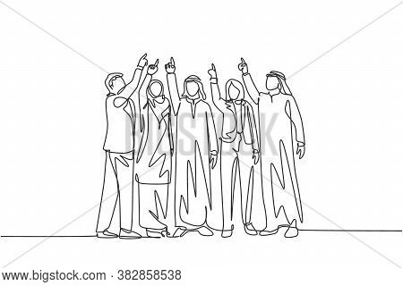 Single Continuous Line Drawing Of Young Male And Female Muslim Managers Pointing Finger Up To The Sk