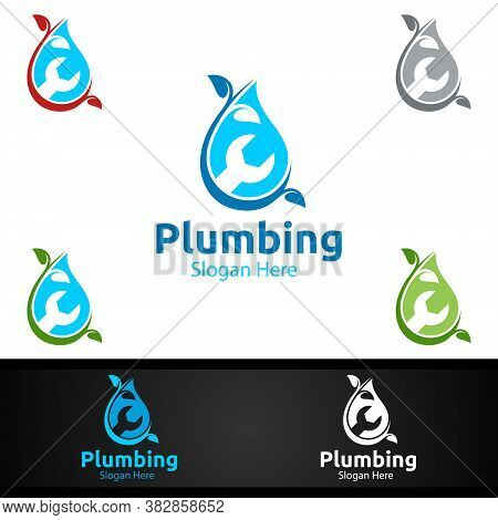 Eco Plumbing Logo With Water And Fix Home Concept