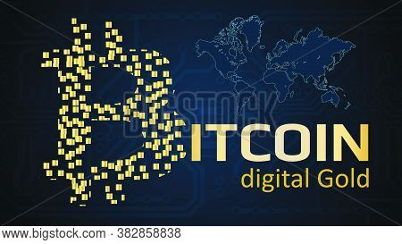 Text Bitcoin Digital Gold Written In Gold Color On A Dark Background. Bitcoin Logo Made Of Golden Bl