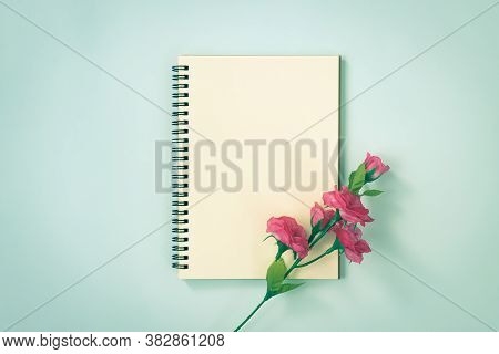 Spiral Notebook Or Spring Notebook In Unlined Type And Rose Flower At Bottom Right On Blue Pastel Mi