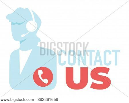 Contact Us, Helpdesk With Operator, Call Center Banner