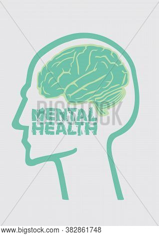 Design Graphic Of A Human Brain With Mental Health. Psychology Or Mental Healthcare Concept. Vector