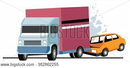 Traffic Collision Of Lorry And Car, Accident On Road