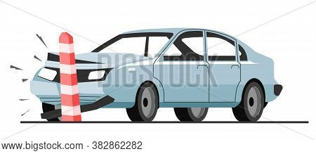 Traffic Accident Of Car Collision With Road Limiter