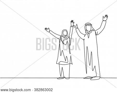 One Single Line Drawing Of Young Happy Male And Female Muslim Businesspeople Celebrate A Success. Sa