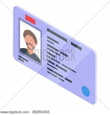 Driver License Icon. Isometric Of Driver License Vector Icon For Web Design Isolated On White Backgr