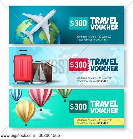 Travel Voucher Template Vector Set. Travel And Tour Gift Voucher Collection Promo With Travel Elemen