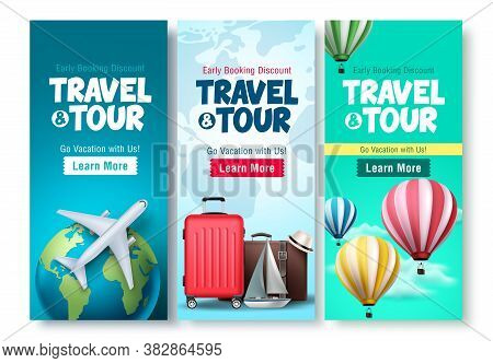 Travel And Tour Poster Set Vector Background Design. Travel And Tour Early Booking Discount With Tra