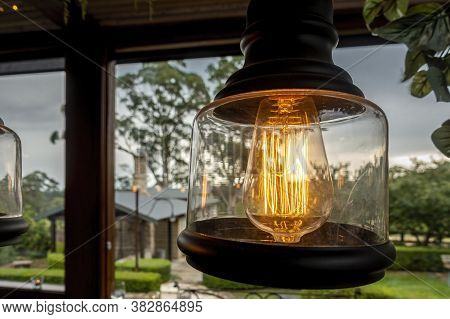 Mittagong, Australia - Mar 23, 2019: Led Incandescent Light Providing A Warm Orange Glow In A Countr