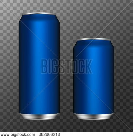 Aluminum Cans. 3d Realistic Aluminium Can For Drink Beer Soda Water Juice. Blank Packaging Mock Up