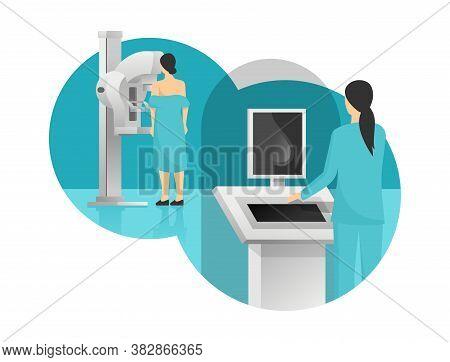 Mammogram -  Breast Cancer Diagnosis And Screening - Creative Vector Illustration Of  Medical Examin