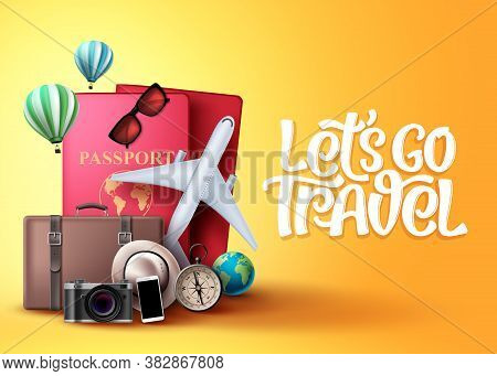 Let's Go Travel Vector Background Design. Travel And Tour Elements In Yellow Background With Travele