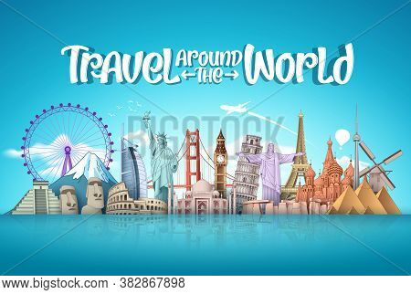 Travel Around The World Vector Landmark Design. Famous Landmarks Around The World Elements With Trav
